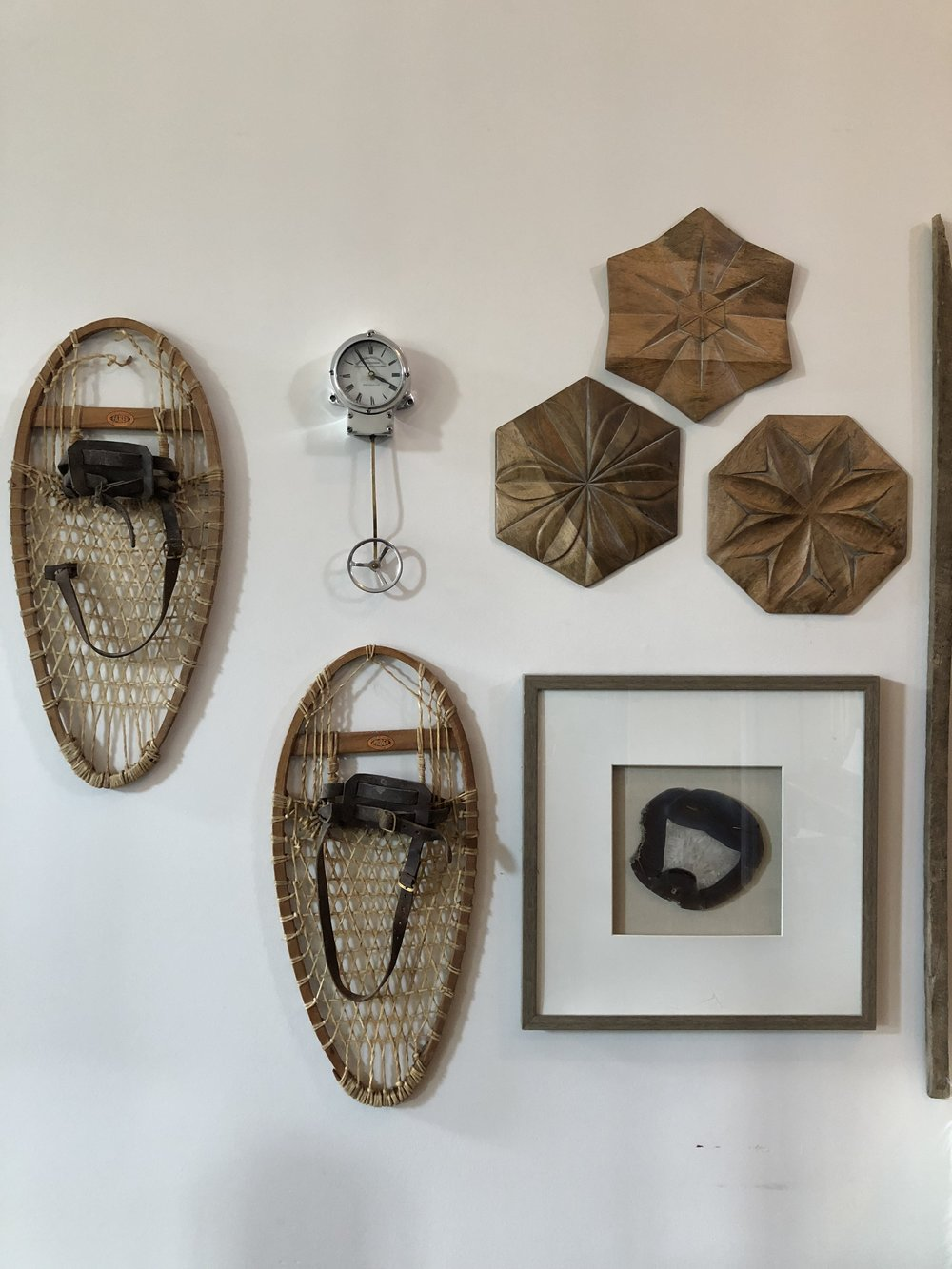 We got these old snow shoes from my in laws house. Totally unexpected but totally fit with the overall color scheme and earthy feel of the gallery!
