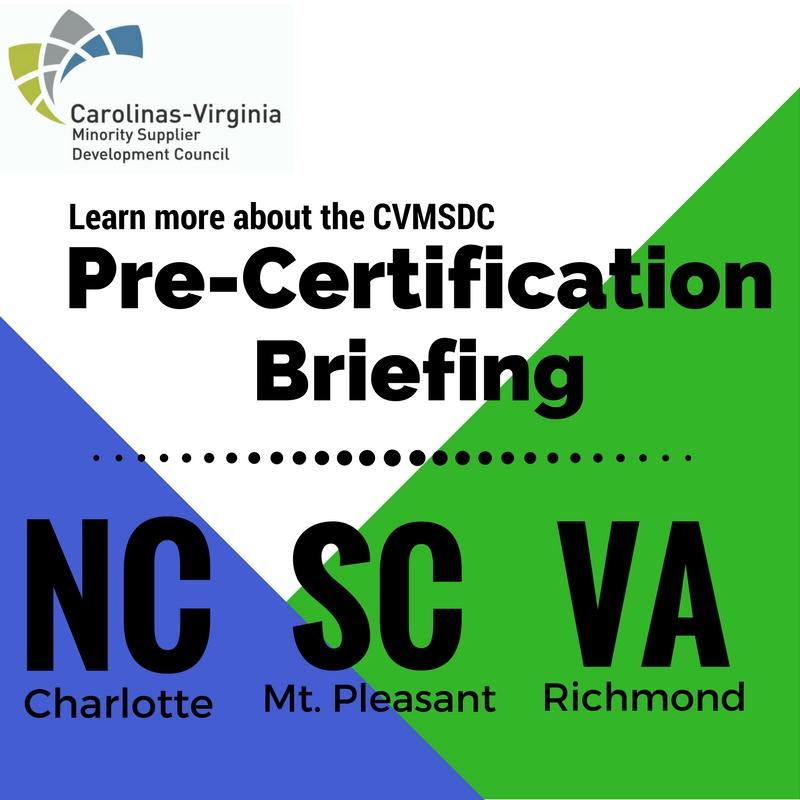 CVMSDC Pre-Certification Briefing Richmond, VA — Carolinas-Virginia MSDC