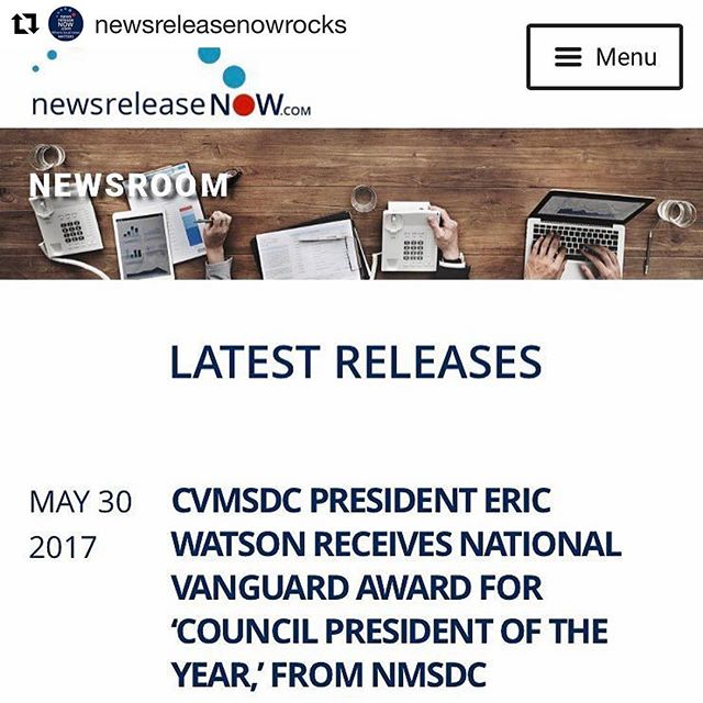 #Repost @newsreleasenowrocks (@get_repost) ・・・ [Click link in bio for full release] Congrats to Eric Watson, #President of Carolinas Virginia Supplier Development Council @supplier_diversity for this national recognition from @nmsdchq !! Exciting news indeed. #supplierdiversity #entrepreneur #business #nmsdc #cvmsdc #localnewsmatters #newsreleasenow. . #Congratulations to our #president and #CEO! Council President of the Year!! . . #wearecvmsdc #leadership #lifeatthecouncil #nonprofit #hilton #minorityowned #diversity #presidentoftheyear #nmsdc #cvmsdc #leadershipaward #diversitynow #businessowners #entrepreneurship #thankyou #corporatemembers #MBES