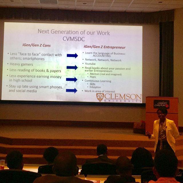 Dr. Phebian Davis of #Clemson speaking to The Next Generation  #nextgeneration #entrepreneurship #entrepreneur  #clemson #clemsonuniversity #mbesummit #MBE #CorporateMembers #minoritybusiness #minorityowned #supplierdiversity #minoritysupplierdevelopment #wearenmsdc #wearecvmsdc