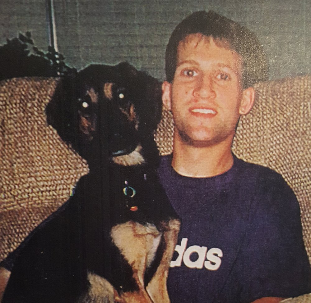 Jason Zala and family pup Kahlua. PHOTO COURTESY ZALA FAMILY