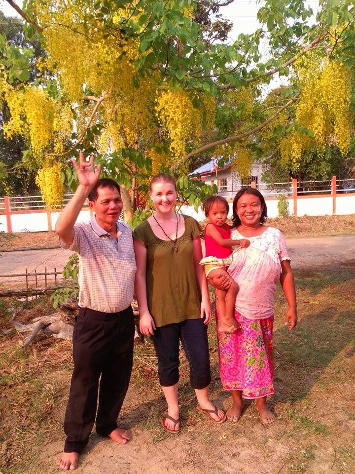 Cierra visiting Nid's village in Northeast Thailand