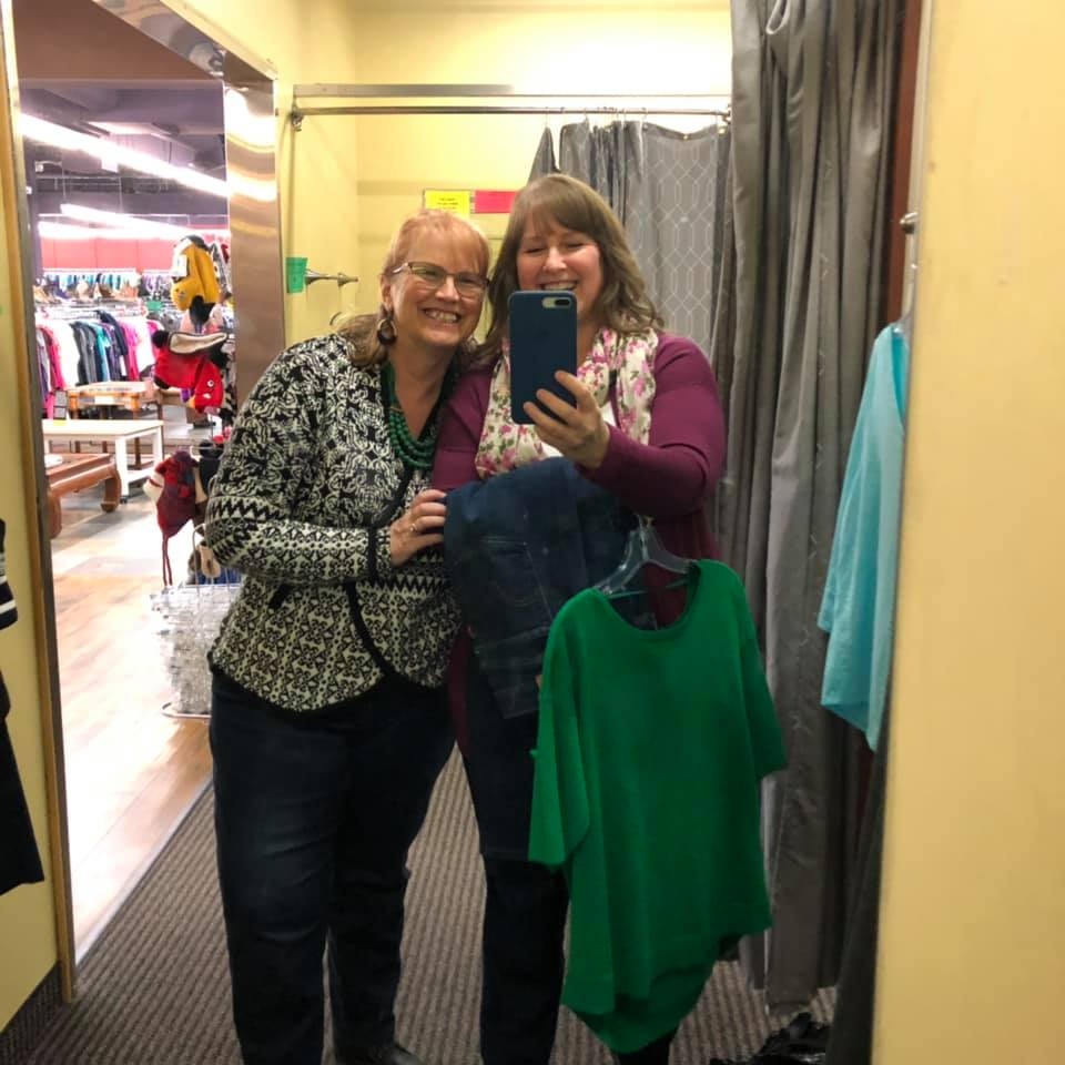 My sister and I shopping at our favorite thrift store last week.