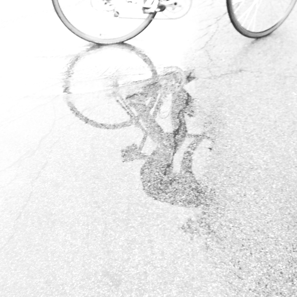 Cyclist Reflecting in Rain Puddle