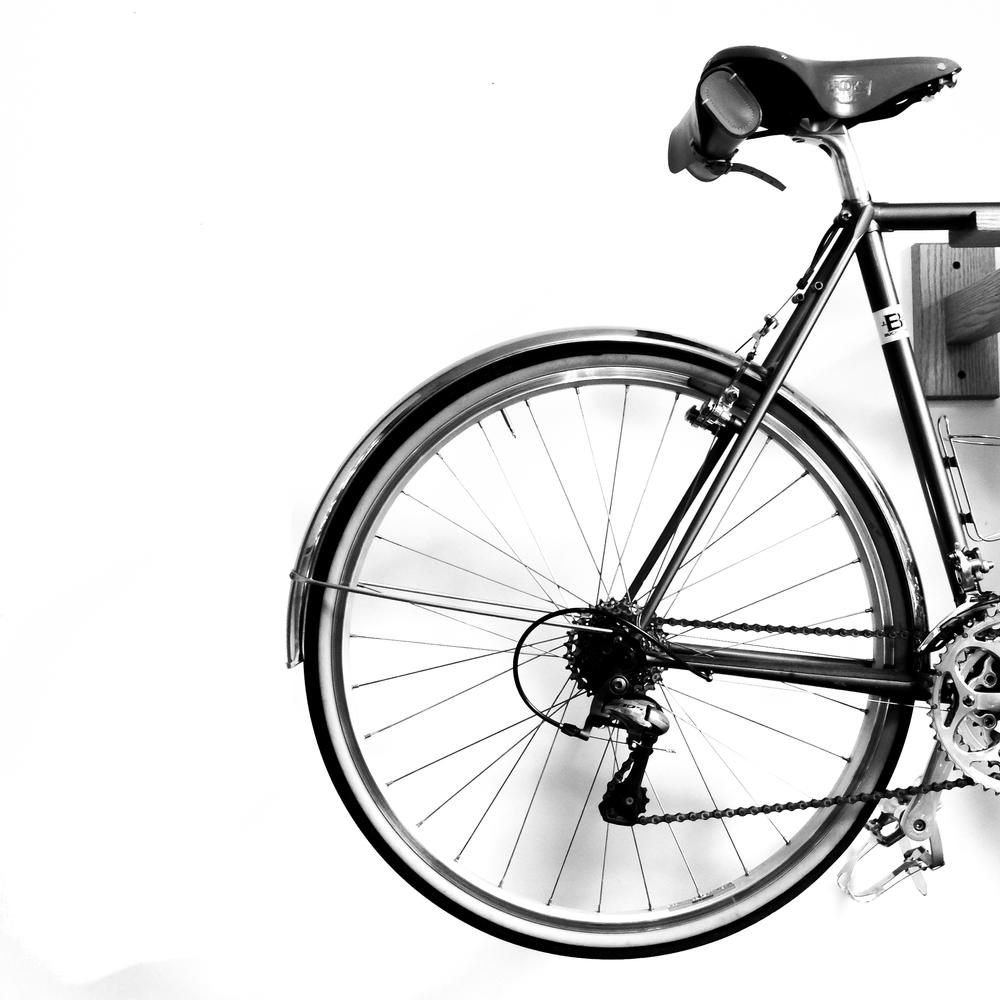 Bike Displayed as Functional Wall Art