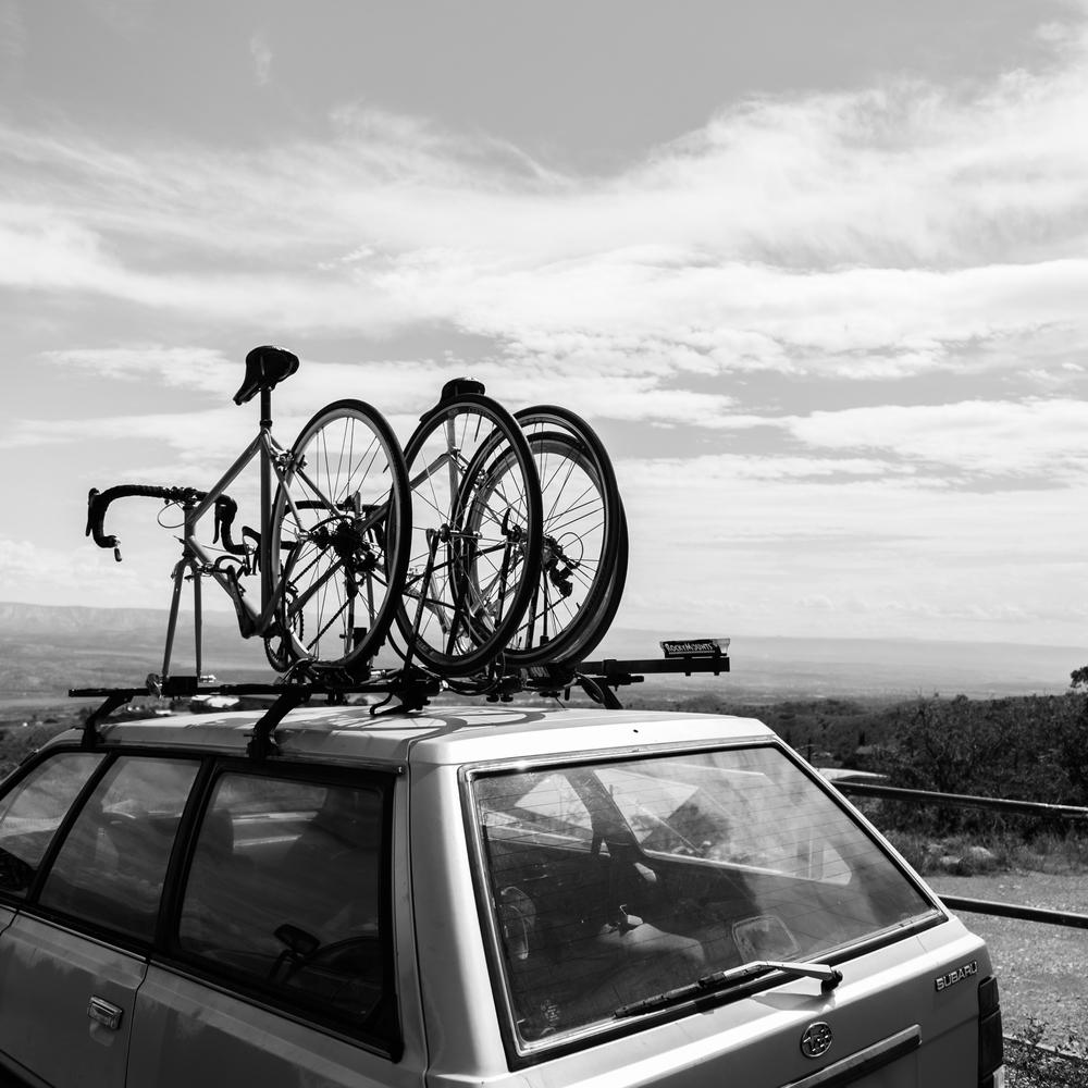 Subaru with Bike Rack Carrying Vintage Bicycles