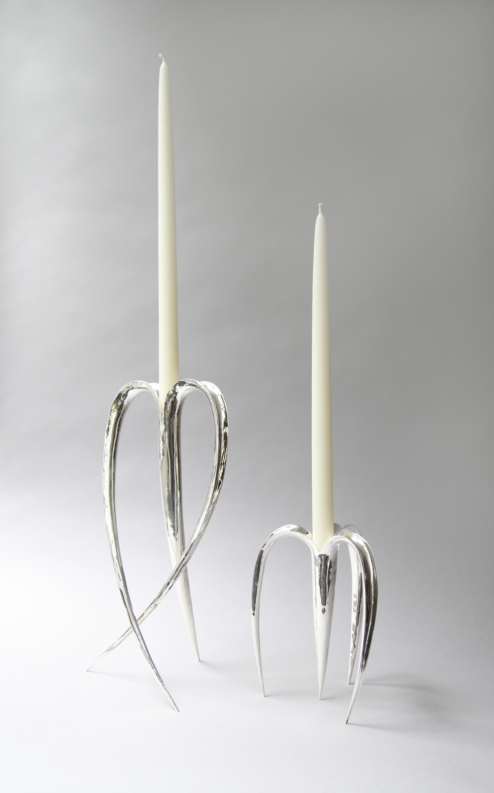 Blade Candle Holders Silver