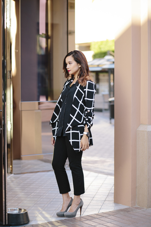 windowpane blazer office outfit