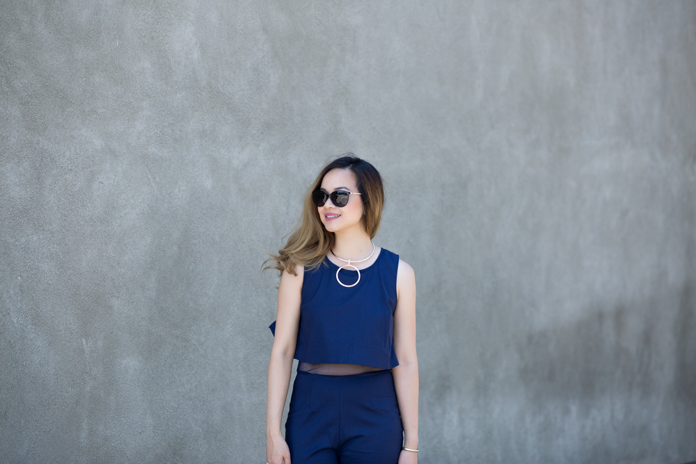 Cubicle Chic || 3 Business Occasions to Wear a Jumpsuit Romper:Tobi Far From Basic Poplin Jumpsuit Necklace:Poshmark Sunglasses: Chanel,similar here