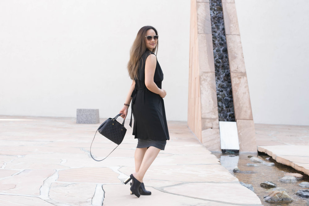 Dress: Kit And Ace;similar here Vest: Boutique; similarhere Mules: Asos; similar here