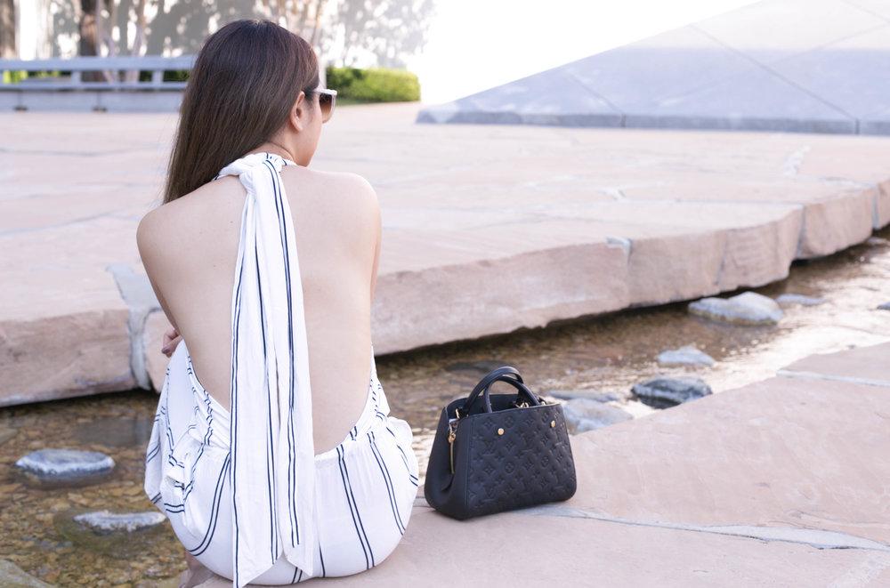 Romper:NastyGal Stripe Her Down Romper Bag:Louis Vuitton Empreinte Montaigne BB