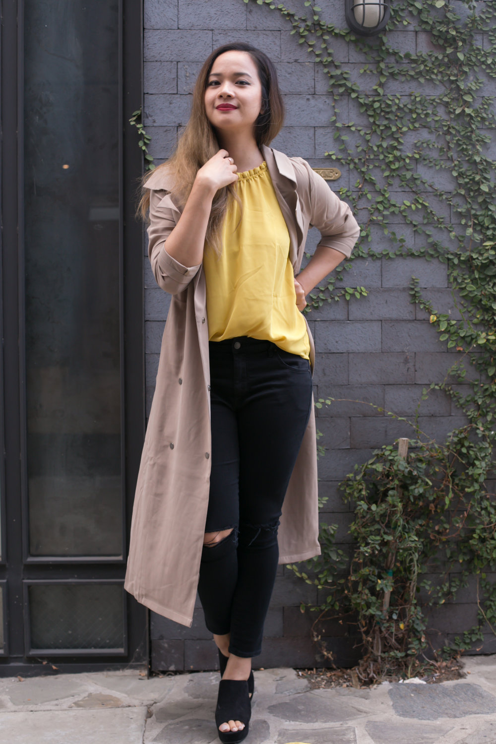 Trench Coat: Miilla, available via Poshmark; similar here, and here Loafers: ASOS; similar here Jeans: Topshop Jamie