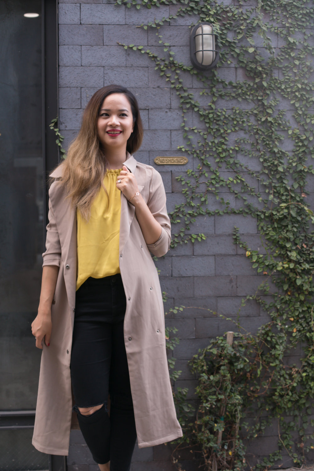 Trench Coat: Miilla, available via Poshmark; similar here, and here Loafers:ASOS; similar here Jeans:Topshop Jamie