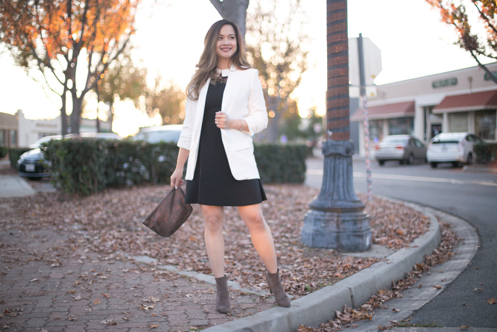 Blazer:Tobi Adriana Boyfriend Blazer (ON SALE For $35, originally $105!) Dress:Maison Jules Lace Trim A-Line Dress(also on sale for $54..99 at Macy's!) Boots:Marc Fisher Justice Suede Boots (On sale for $79.00!)
