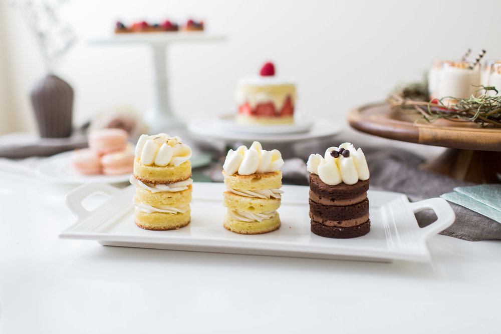 From left to right :Almonds Cake with Mascarpone Cheese Filling; Ricotta Cheese Cake also with Mascarpone Cheese Filling; Flourless Chocolate Cake With Chocolate Mousse