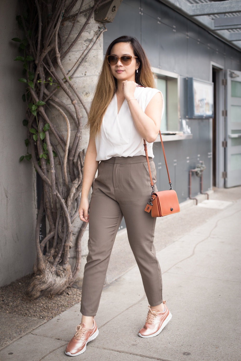 Top: similar @ Nordstrom Pants: Tobi Understand This Cigarette Pants Purse: C/O Coach Dinky Crossbody Bag Shoes: Nike Air Max Thea
