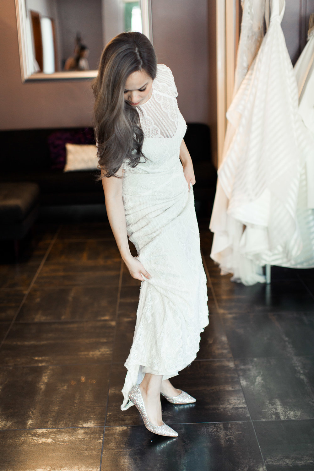 A Fashion Blogger's Perspectives on Wedding Gowns Trying-On || Wtoo- Lenora Gown || Jimmy Choo Wedding Shoes