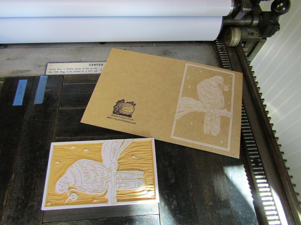Printing image on the Vandercook, using chipboard paper