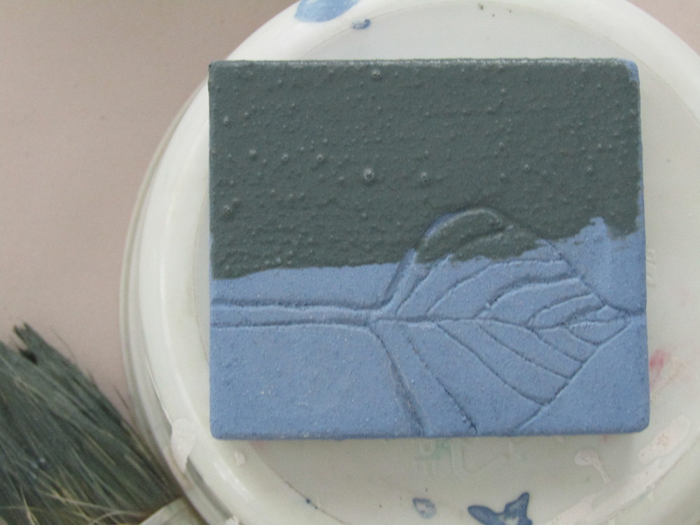Adding additional coats - first blue; then green.