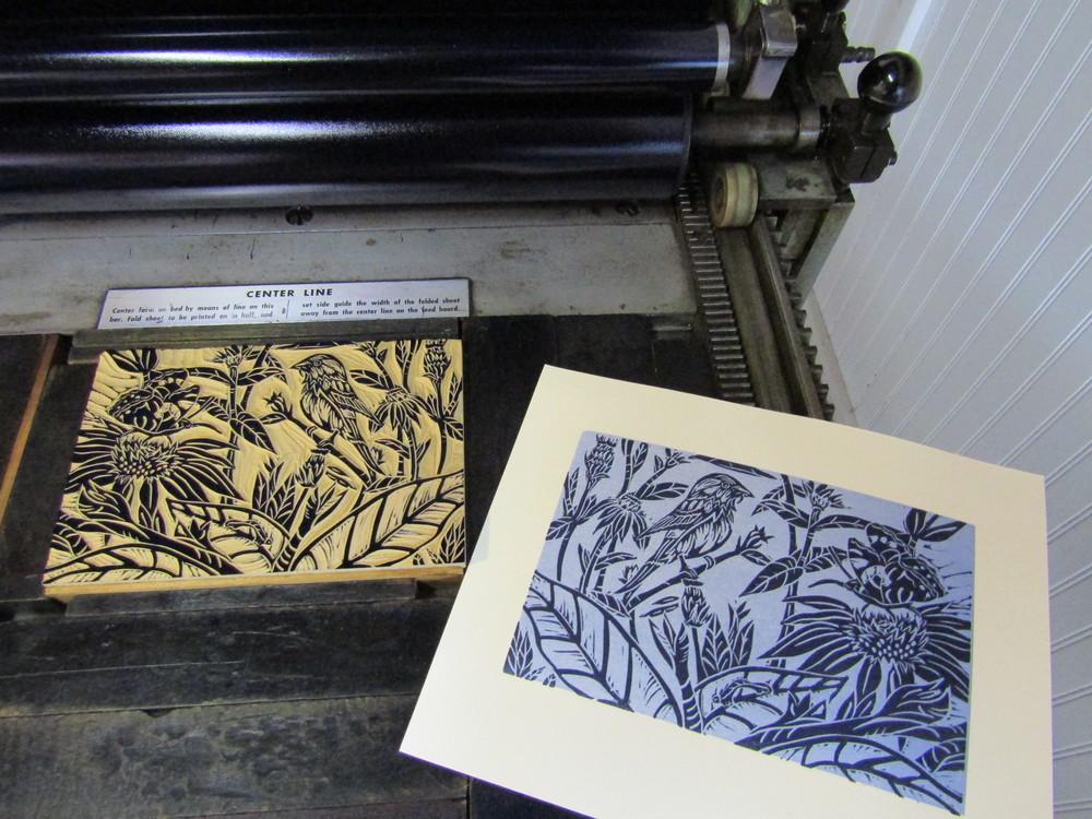 Second run - printing the garden image in a indigo blue.