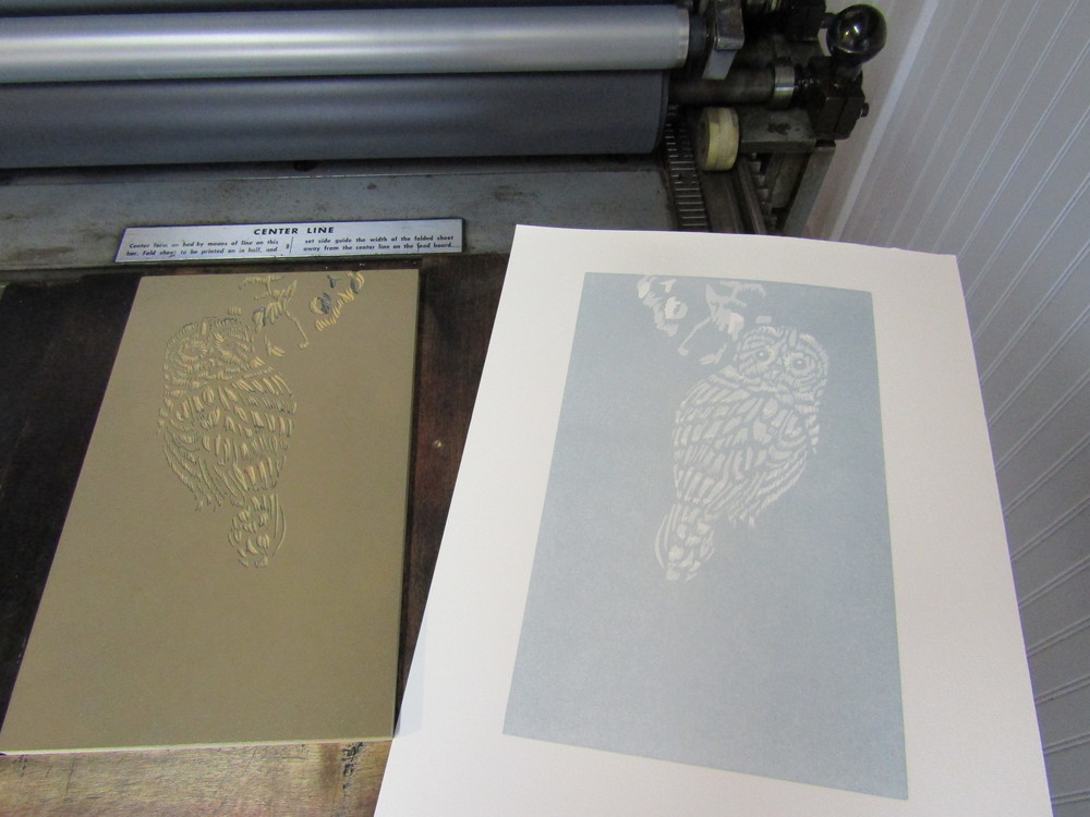 The image is taking shape after two printing runs using  variations of gray; ghost-like at this point.