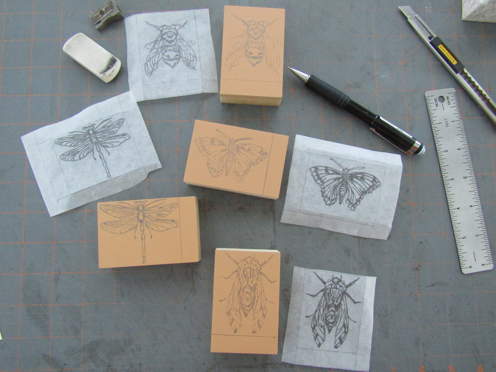 Drawings transferred to blocks, now ready to carve.