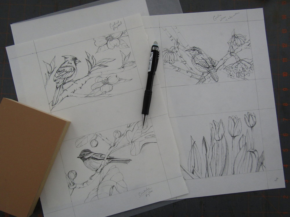 I began by completing a series of drawings based on photographs I had taken of my gardens.