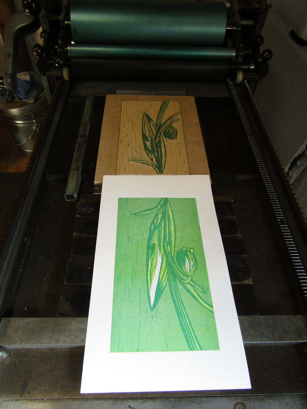 Printmaking magic (most of the time); pleased with how the colors and image are coming together.