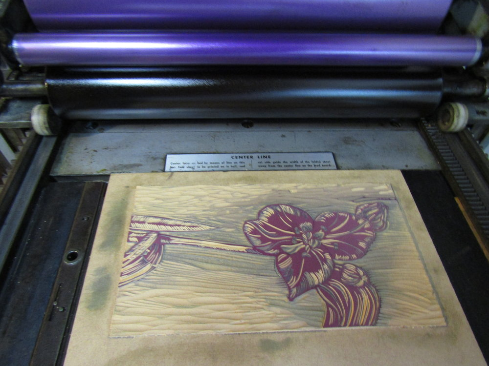 I am printing; purples and blues were the dominant colors in this print.