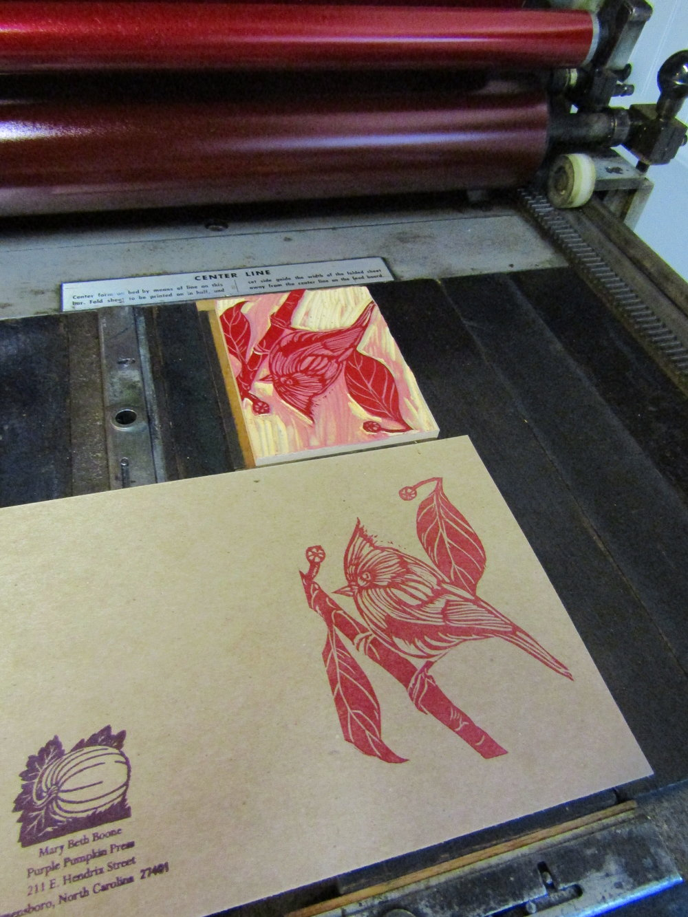 The relief block is locked into place and printing is underway! I printed fifty cards this year and used every one of them. I enjoy sending and receiving 'snail mail'; particularly when handmade.