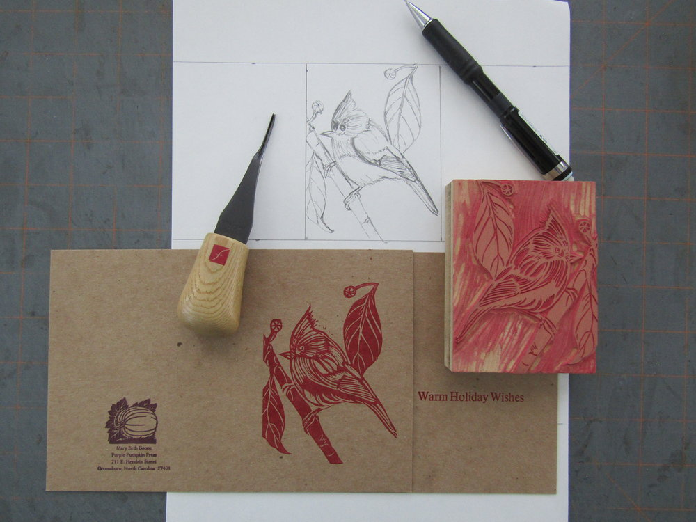 A pencil drawing is transformed into a printed card.