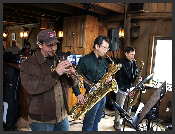 Horns of a Dilemma   recording session. Left to right: Justin Sadzewicz (tpt.), Kenji Kikuchi (baritone), Jeff Harrington (tenor)