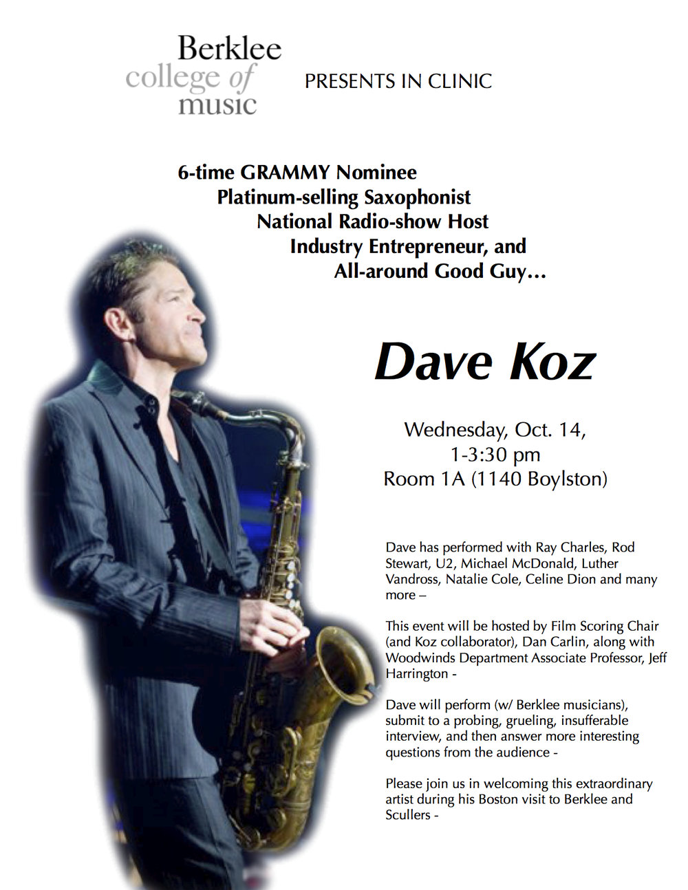 Hosting a clinic for Dave Koz at Berklee