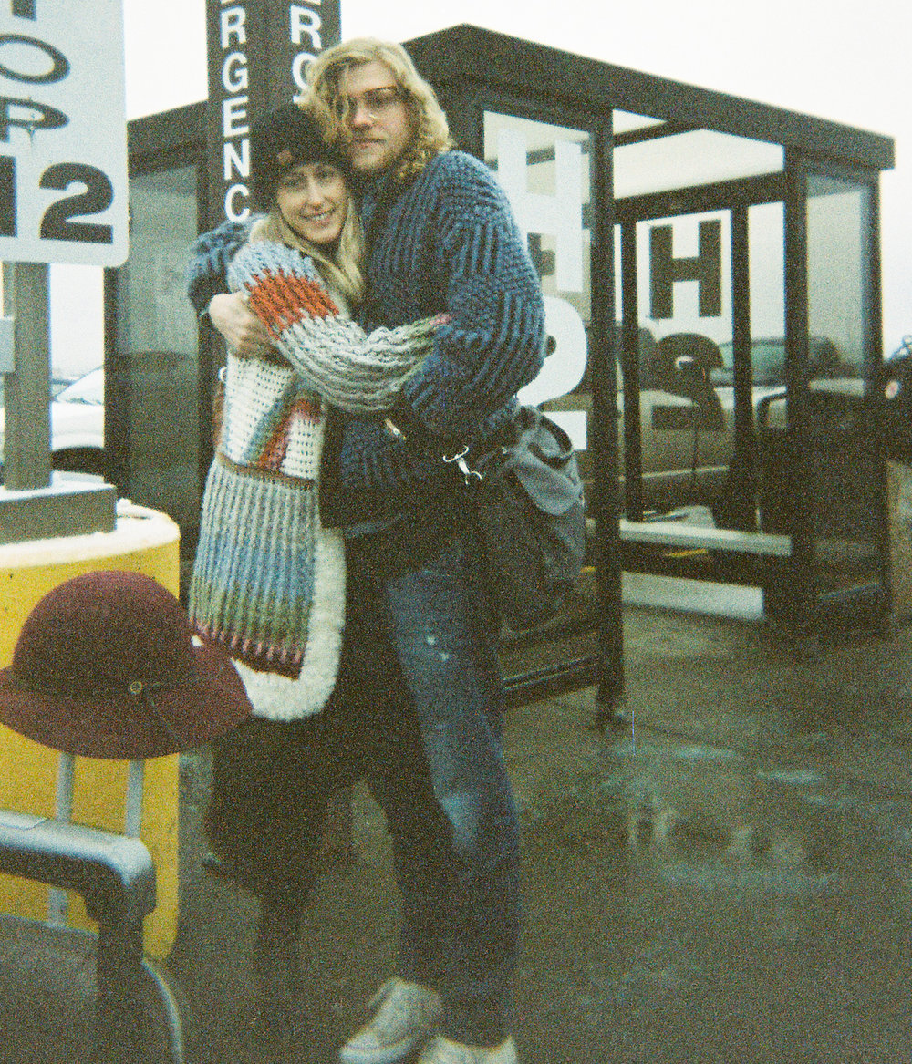 Saying goodbye to my friends Allen and Tara at the airport this winter.