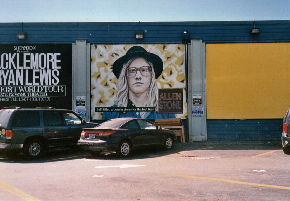 A photo I took of Allen Stone on the side of the Easy Street Records building in Seattle. Painting by Don Rockwell.