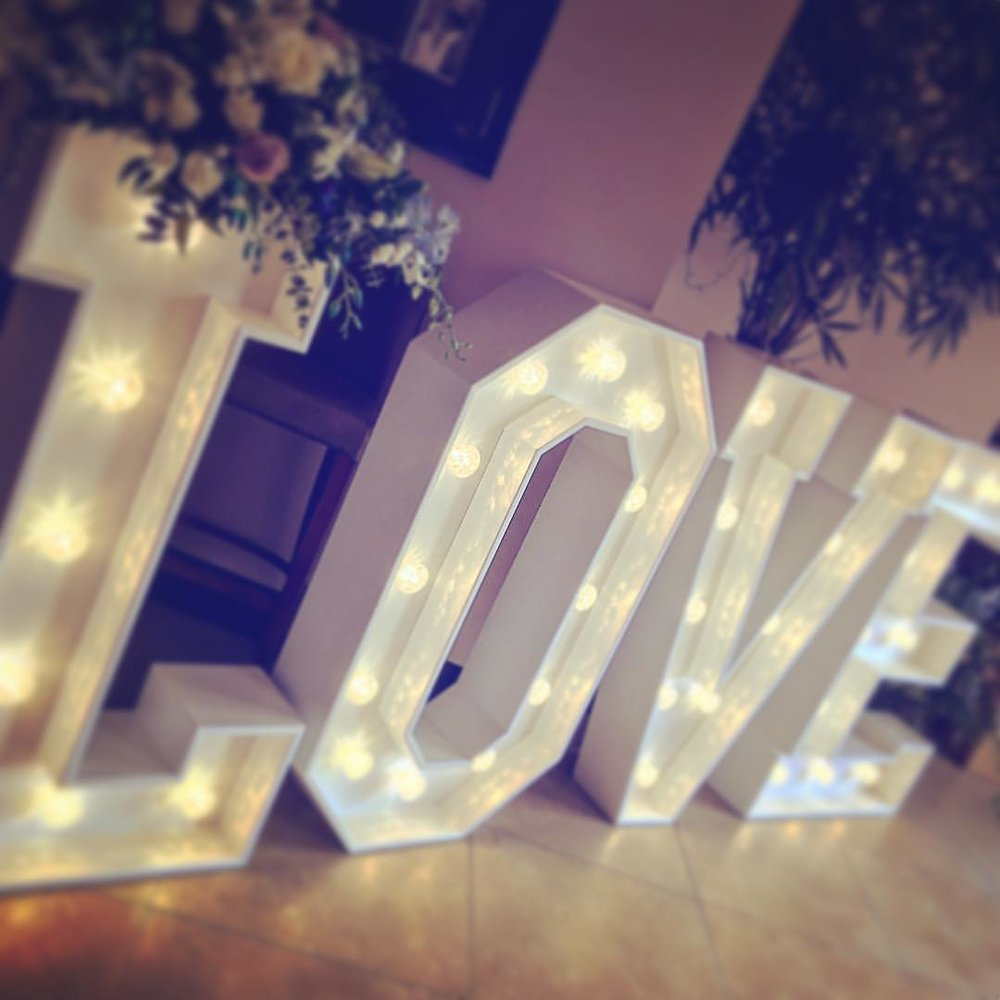 Love Lights The Way Light up letters for your big day from the lovely Stacy & David