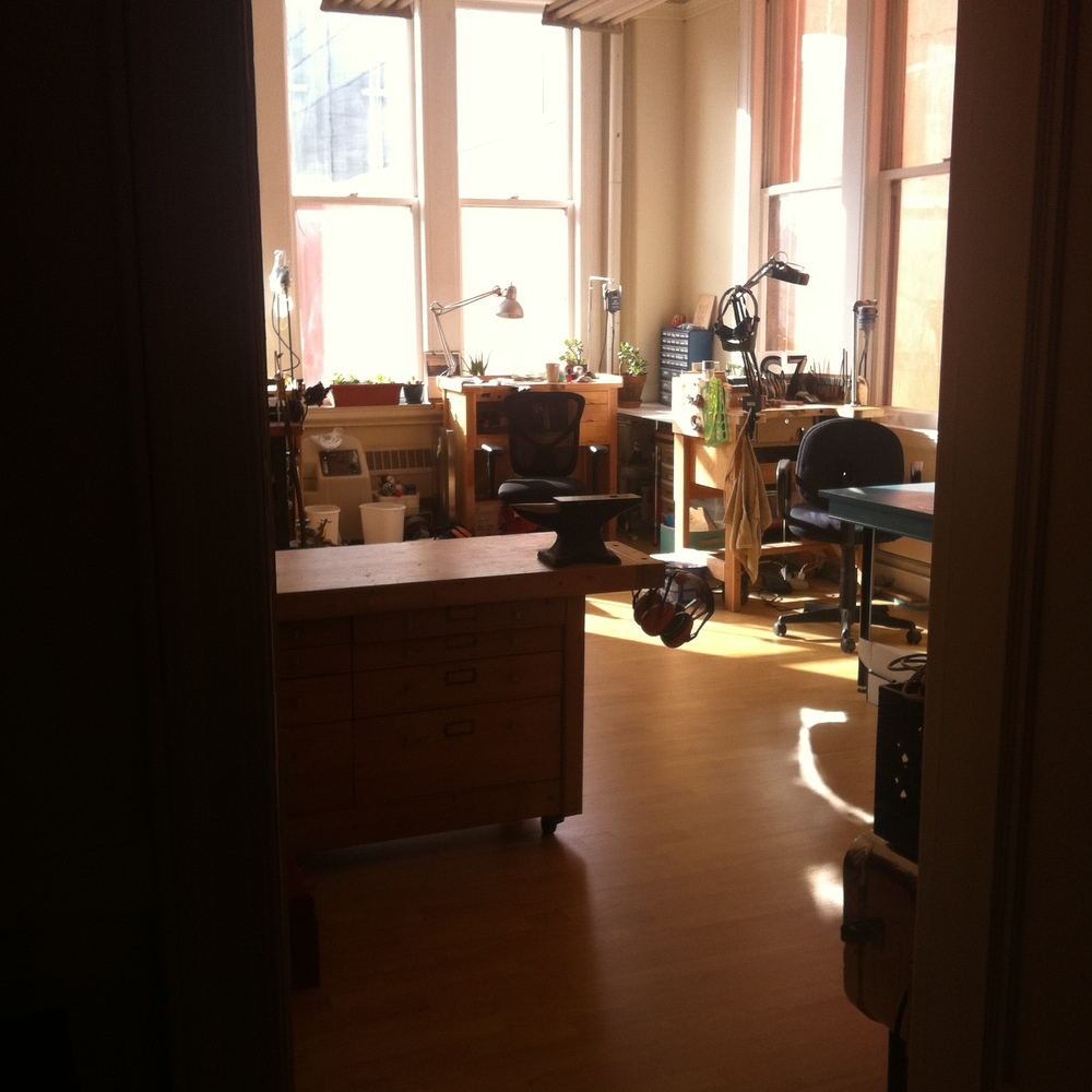 The unpacked and set-up production space bathed in beautiful morning light