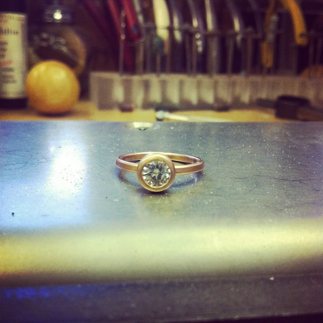 This rose gold lovely is ready for its new home! #showmeyourrings #moissanite #sparkle