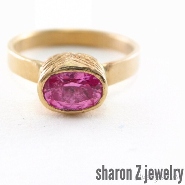 "Introducing the Rani Ring. Rani, from the Hindi word for ""queen"". This ring features a 1 carat lab-grown pink sapphire. Find the link in my profile. #labgrownsapphire #pinksapphire #yellowgold #makersworkshop #beyondconflictfree"