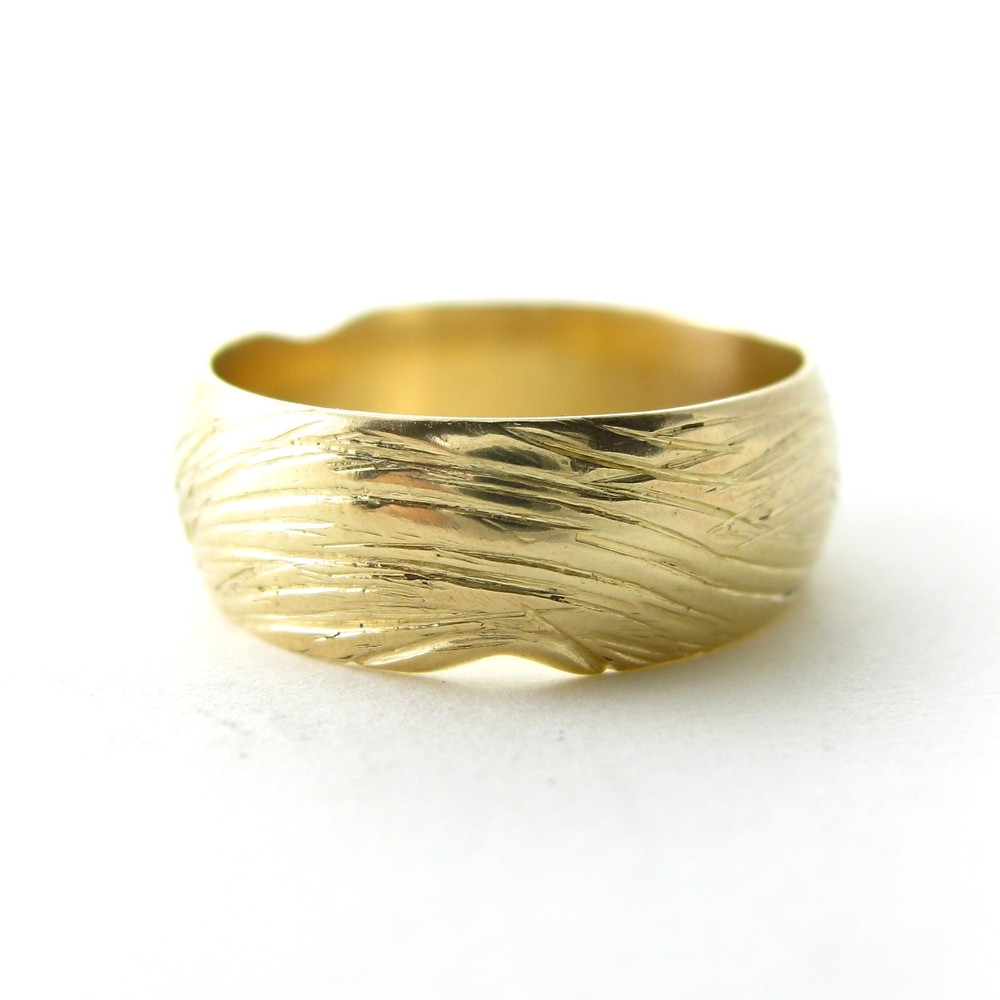 Vintage 14 karat gold ring with customized texture - Sharon Z Jewelry made by Sharon Zimmerman
