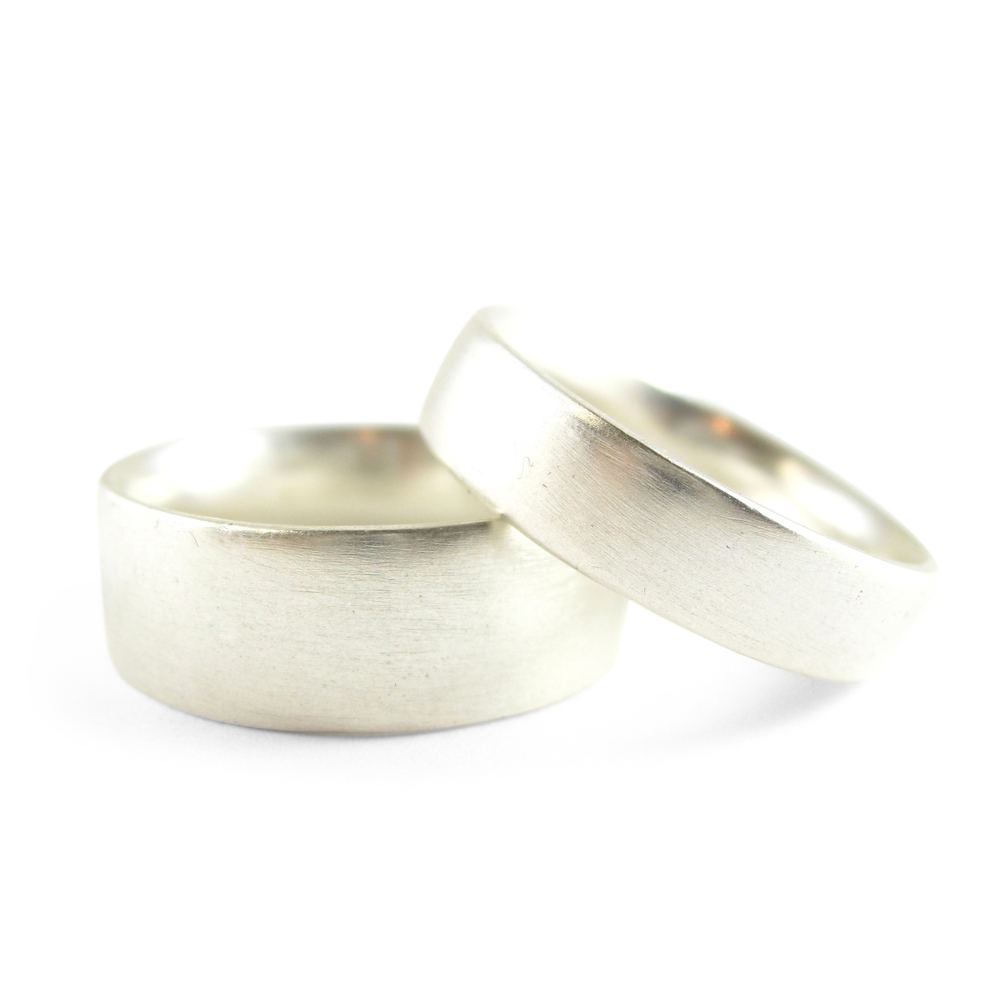 Custom platinum wedding bands with a matte finish - Sharon Z Jewelry by Sharon Zimmerman