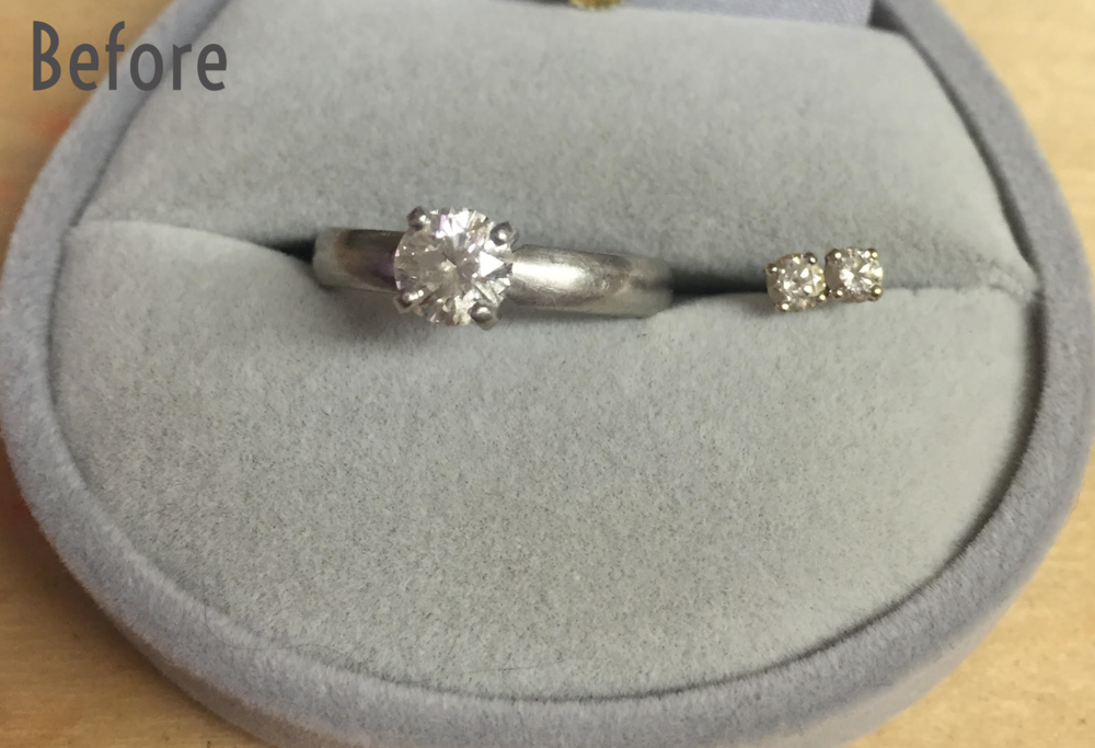 Remade, recycled engagement ring - prong setting turned into bezel setting