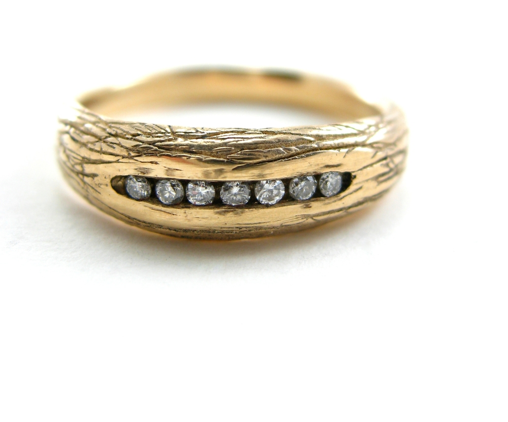 Woodland Channel Set ring using recycled diamonds - Sharon Z Jewelry Handmade jewelry in San Francisco