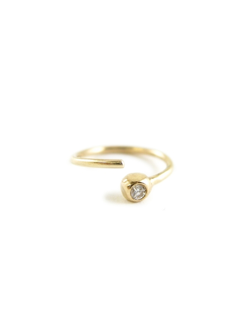 TINY DIAMOND HOOP NOSE RING RECYCLED 14K GOLD POST CONSUMER