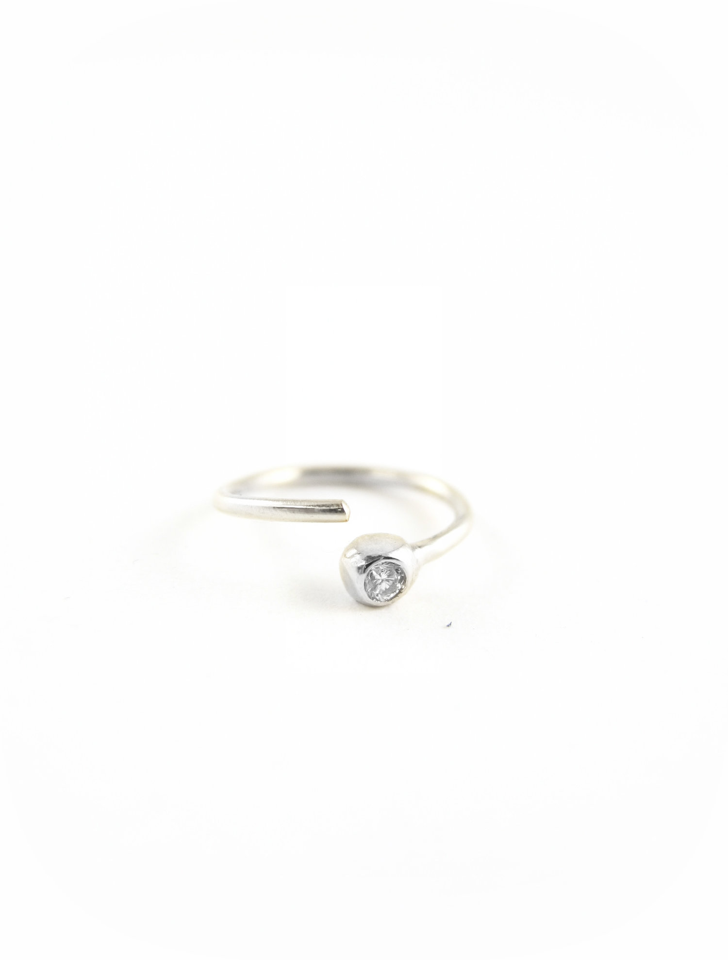 903e9f137 TINY DIAMOND HOOP - NOSE RING - RECYCLED PLATINUM - POST CONSUMER ...