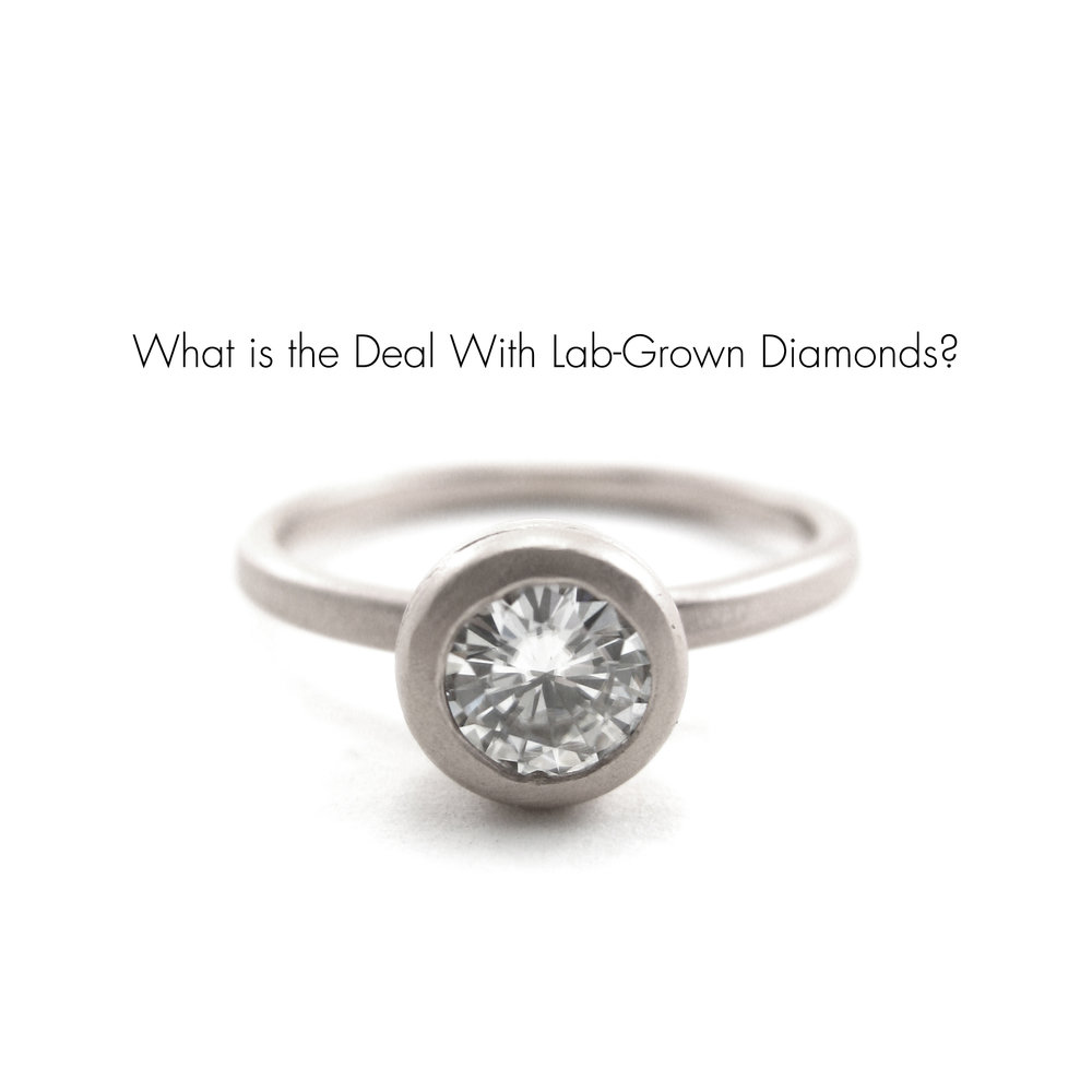 Platinum Chalice ring with lab grown diamond