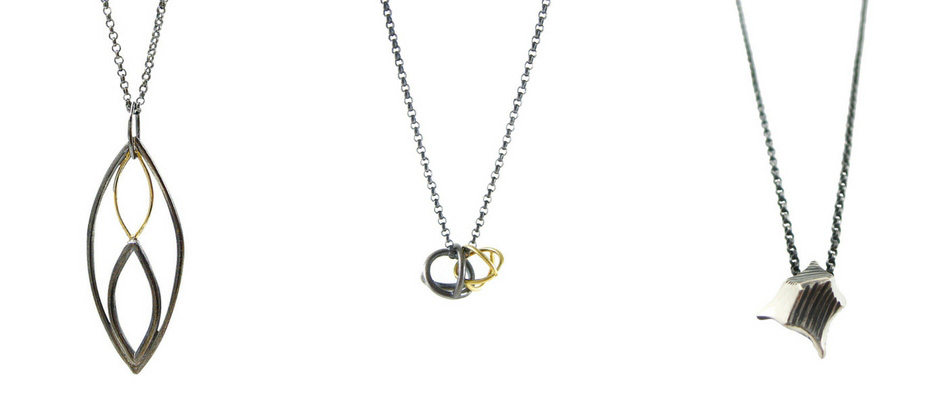 Mixed metal necklaces by Sharon Z Jewelry, made of oxidized silver and 18 karat gold. Made and designed in San Francisco