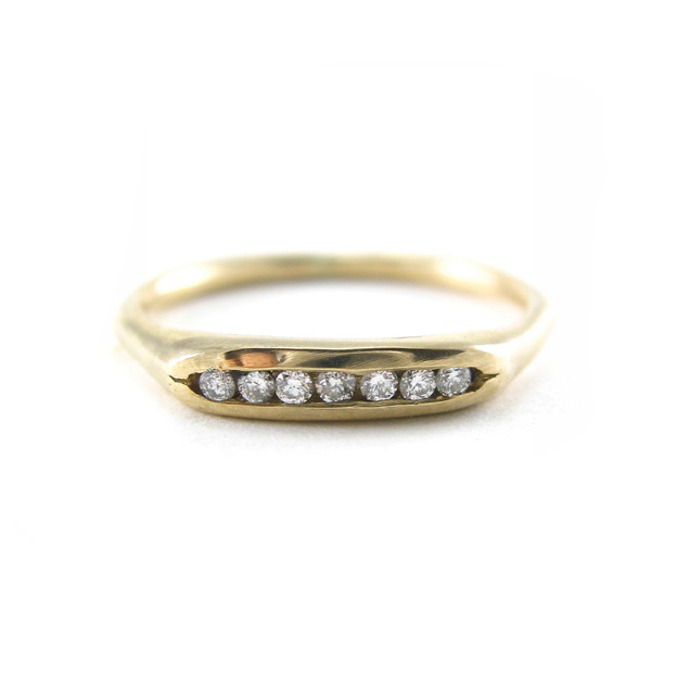 Tiny Channel Set Recycled Gold Wedding Ring | Recycled Diamond Wedding Band  | Eco Friendly Wedding