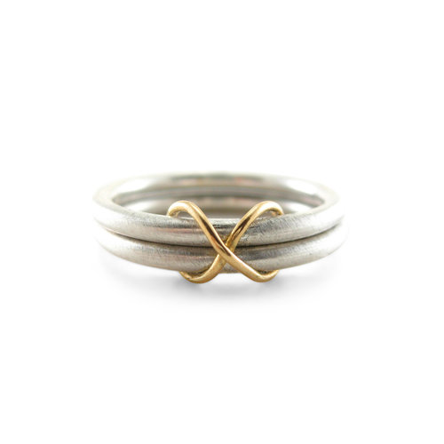 Infinity Wedding Band Recycled Silver Recycled 18k And 14k Gold