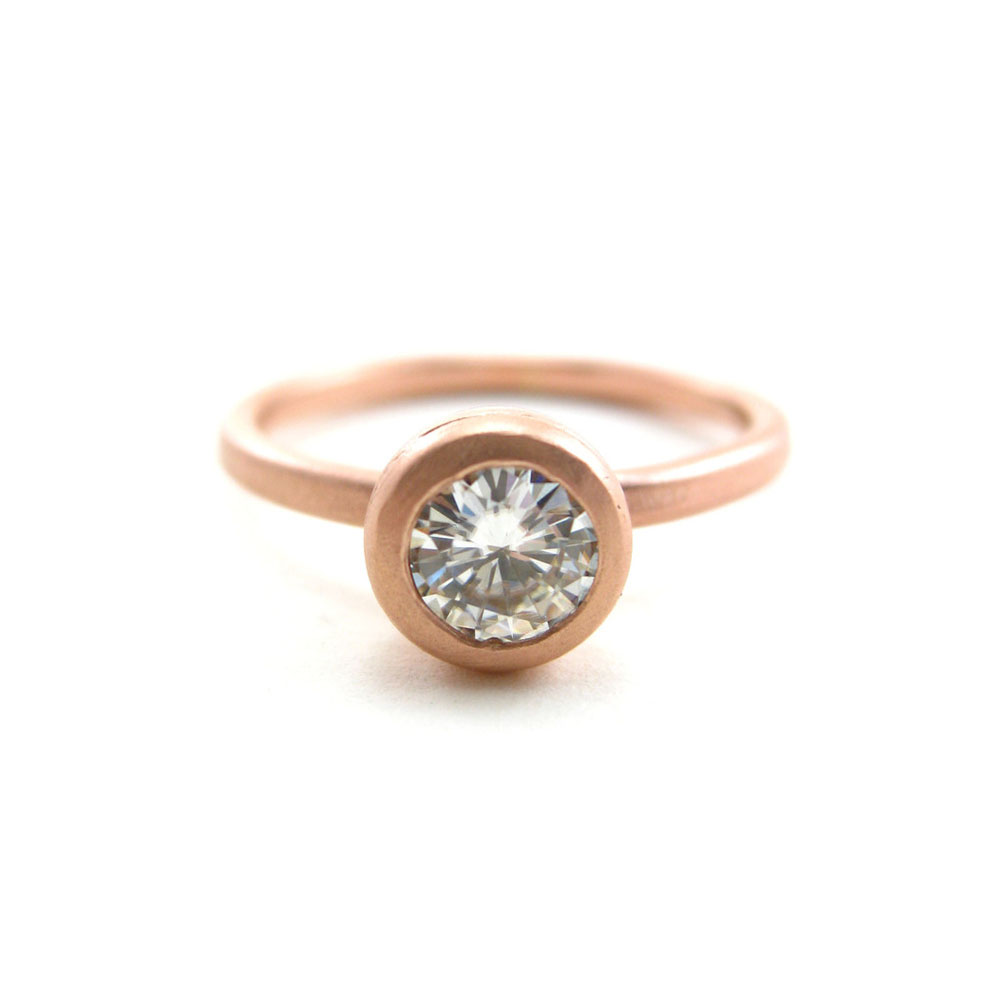 Chalice Engagement Ring  Moissanite  Recycled 14k Rose Gold — Sharon Z  Jewelry